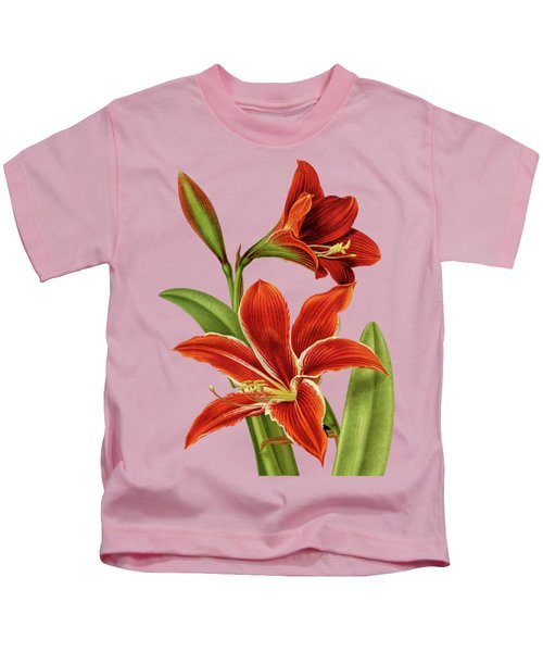 Red Christmas Lily Kids T-Shirt