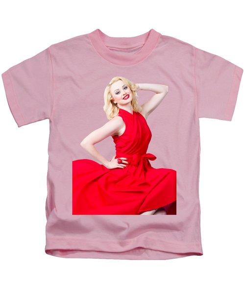 Retro Blond Pinup Woman Wearing A Red Dress Kids T-Shirt