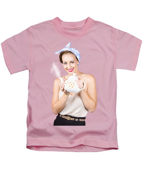 Retro Housewife With Teapot Kids T-Shirt