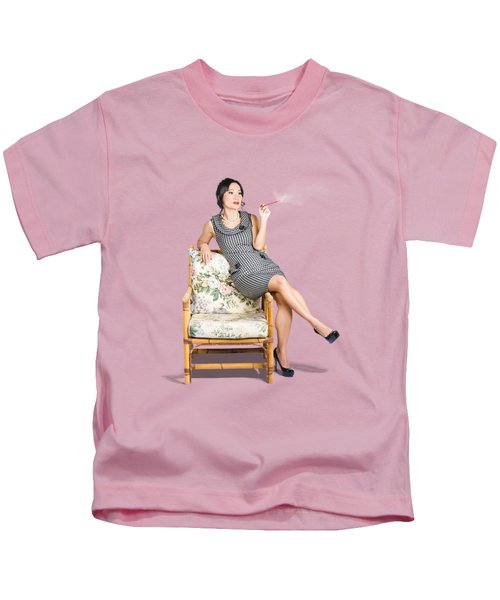 Retro Woman On Lounge Chair With Cigarette Holder Kids T-Shirt