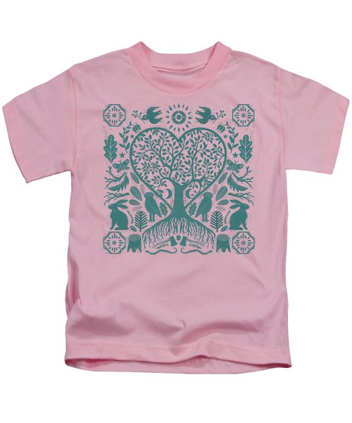 Rustic Early American Tree Of Life Woodcut Kids T-Shirt