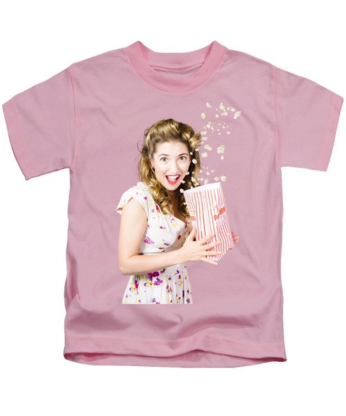 Shock Horror Pinup Girl Watching Scary Movie Kids T-Shirt