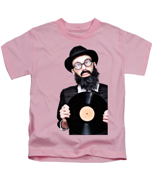 Sixties Retro Rock Man Holding Music Record Vinyl Kids T-Shirt