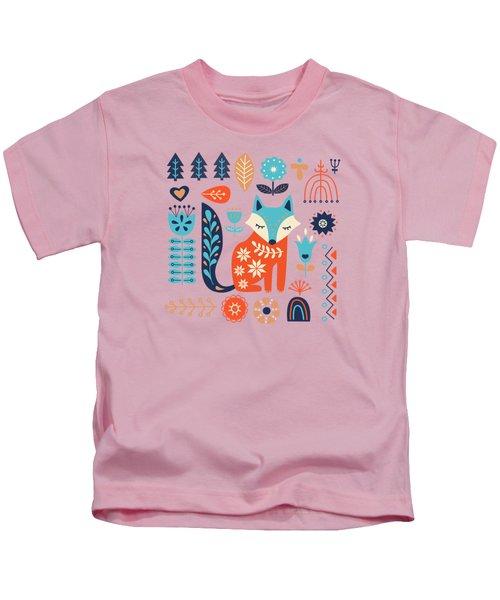Soft And Sweet Scandinavian Fox Folk Art Kids T-Shirt