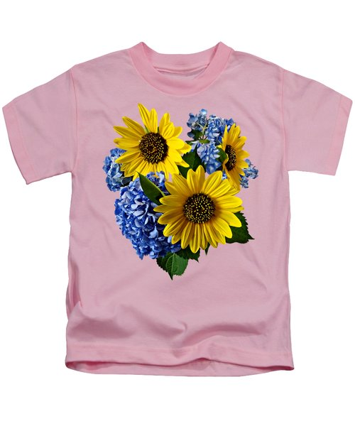 Sunflowers And Hydrangeas Kids T-Shirt