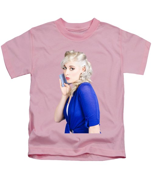 Surprised Pin Up Girl With Wash Cloth Kids T-Shirt