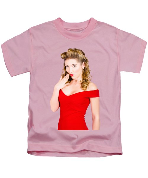 Surprised Retro Pinup Girl On Pink Background Kids T-Shirt