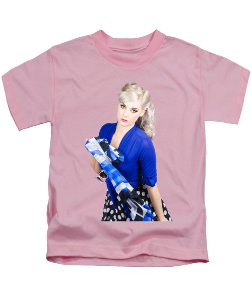 The Classic Pin-up Image. Girl In Retro Style Kids T-Shirt