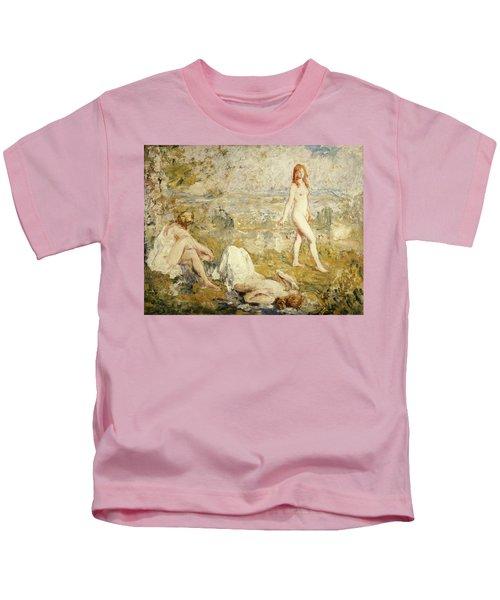 Three Girls Bathing, Thame, 1911 Kids T-Shirt
