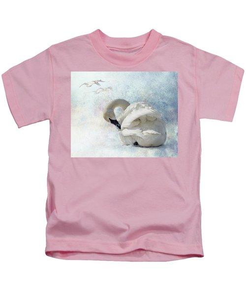 Trumpeter Textures #2 - Swan Preening Kids T-Shirt