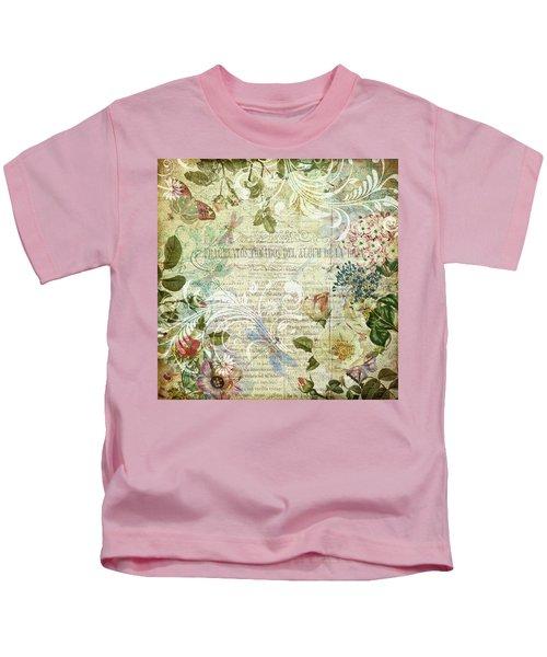 Vintage Botanical Illustration Collage Kids T-Shirt