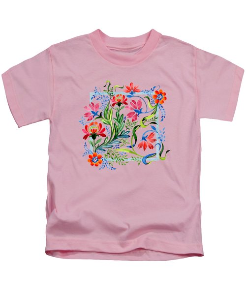 Watercolor Garden Folk Floral In Vintage Style Kids T-Shirt