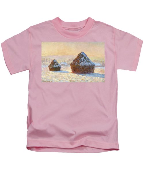 Wheatstacks, Snow Effect, Morning - Digital Remastered Edition Kids T-Shirt
