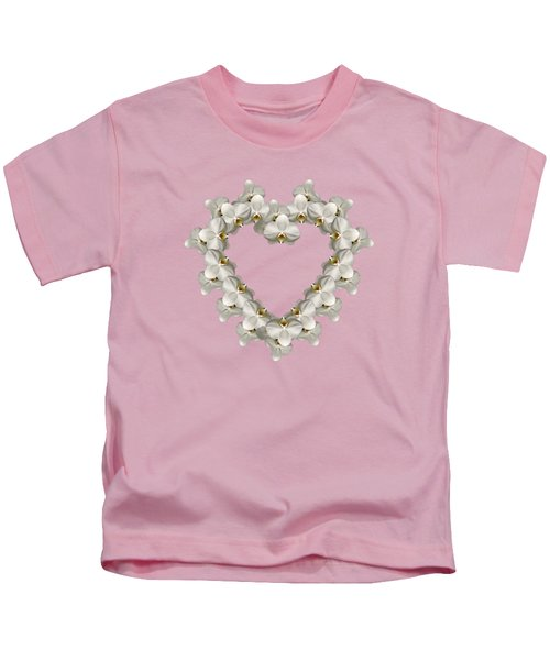 White Orchid Floral Heart Love And Romance Kids T-Shirt