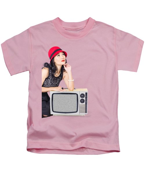 Woman On Retro Tv. Fifties Copyspace Broadcast Kids T-Shirt