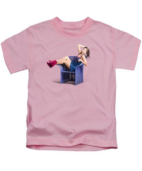 Woman Sitting On A Chair Kids T-Shirt