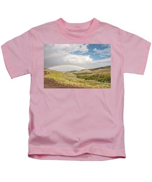 Wyoming Double Rainbow Kids T-Shirt