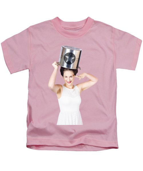 Young Pin Up Lady Reporting For Kitchen Duties Kids T-Shirt
