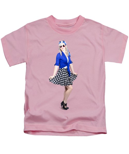 Young Stylish Pinup Woman Posing For Photo Kids T-Shirt