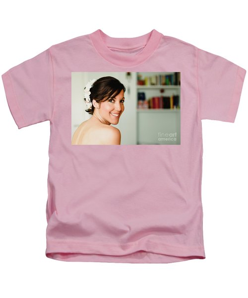 Young Woman From Behind Smiling Kids T-Shirt