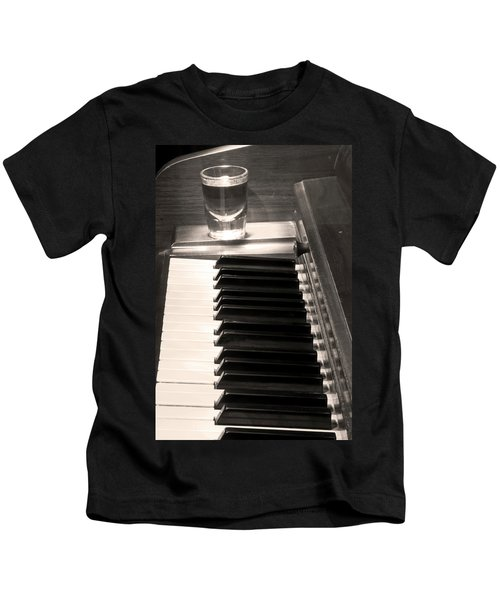 A Shot Of Bourbon Whiskey And The Bw Piano Ivory Keys In Sepia Kids T-Shirt