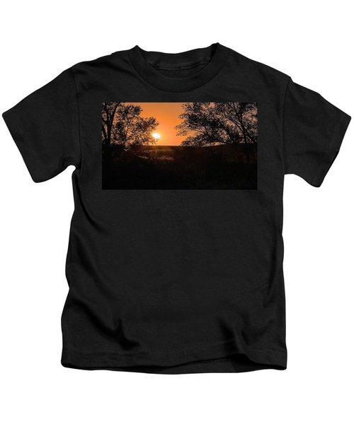 Hayfield At Night Kids T-Shirt