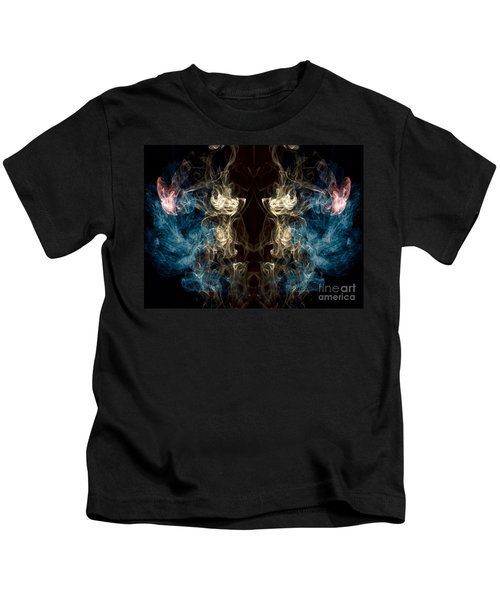 Minotaur Smoke Abstract Kids T-Shirt by Edward Fielding