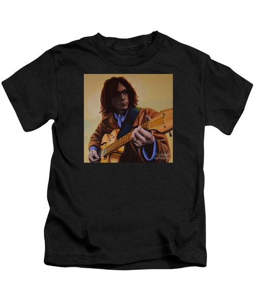 Neil Young Painting Kids T-Shirt by Paul Meijering