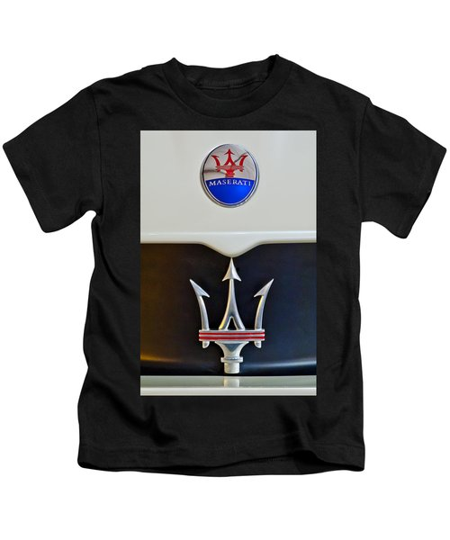 Kids T-Shirt featuring the photograph 2005 Maserati Mc12 Hood Emblem by Jill Reger