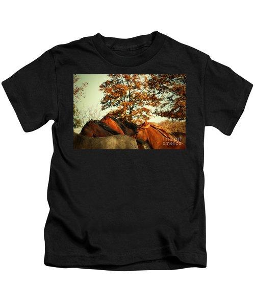 Autumn Wild Horses Kids T-Shirt