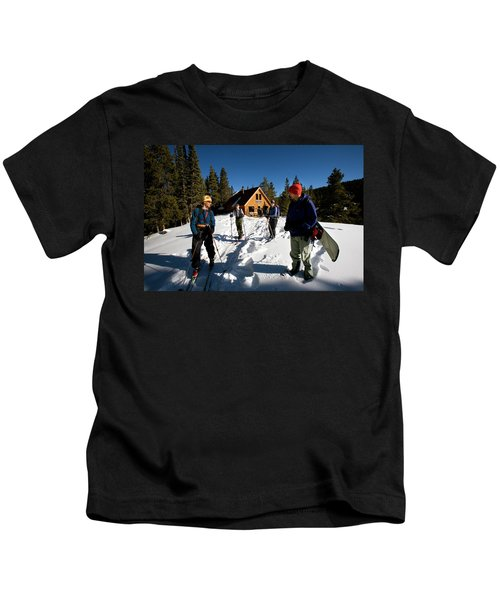Backcountry Skiing To Mcnamara Hut Kids T-Shirt