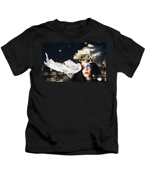 Crying Fairytale Queen Wiping Tears With Tissue Kids T-Shirt