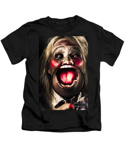 Dark And Scary Horror Face. Evil Laugh Kids T-Shirt