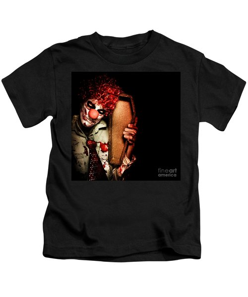 Evil Horrible Clown Holding Coffin In Darkness Kids T-Shirt