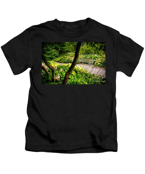Garden Bench Kids T-Shirt by Joe Mamer