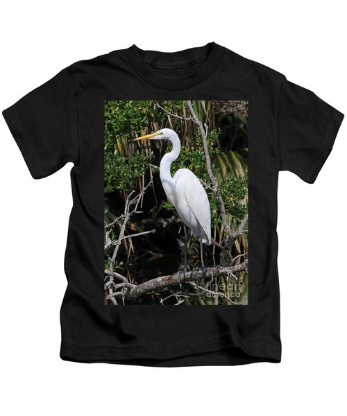 Great Egret Perched In Fallen Tree Kids T-Shirt