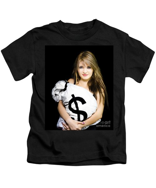 Happy Woman With A Bag Of American Dollar Bills Kids T-Shirt