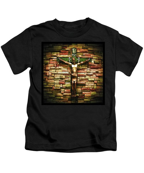 Jesus Is His Name Black Border Kids T-Shirt