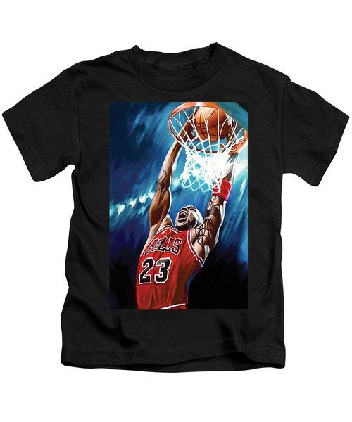 Michael Jordan Artwork Kids T-Shirt by Sheraz A