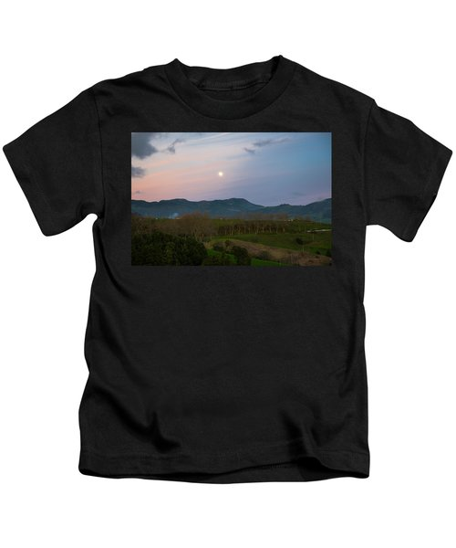 Moon Over The Hills Of Povoacao Kids T-Shirt