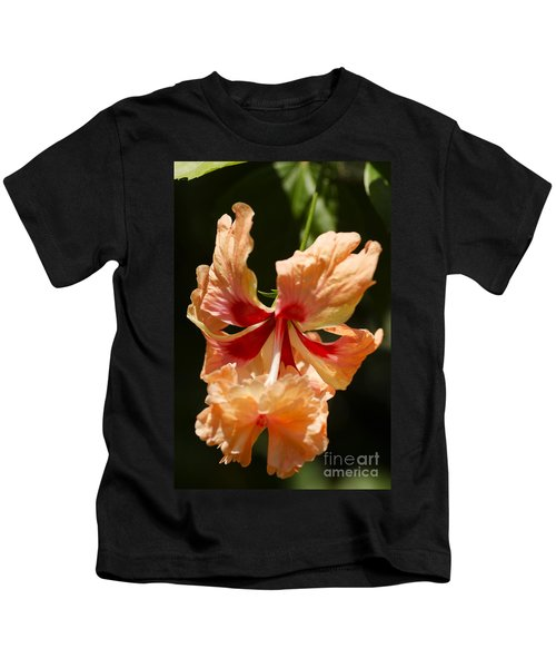 Peach And Red Flower Kids T-Shirt