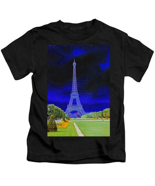 Purple Eiffel Kids T-Shirt
