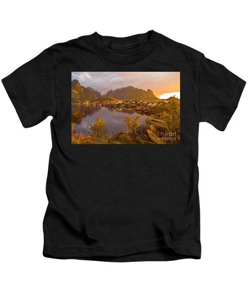 The Day Begins In Reine Kids T-Shirt