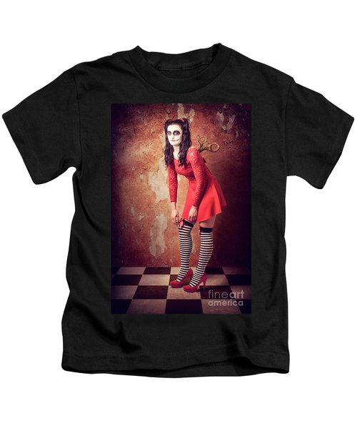 Tired Human Wind-up Doll With Sugar Skull Make Up Kids T-Shirt