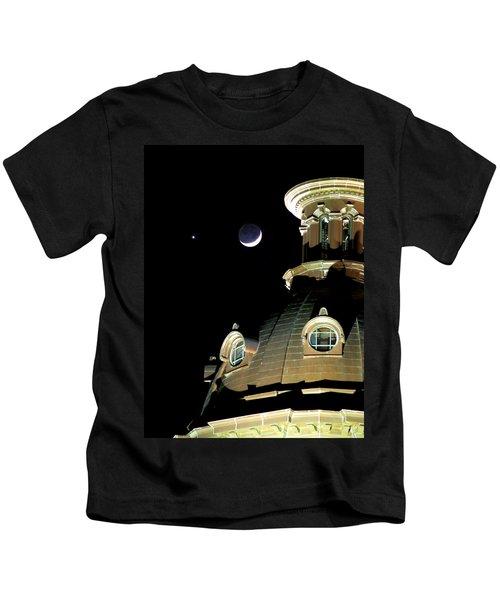Venus And Crescent Moon-1 Kids T-Shirt