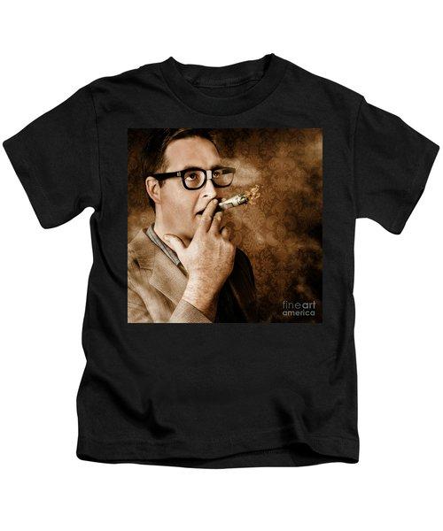 Vintage Business Man Smoking Money In Success Kids T-Shirt