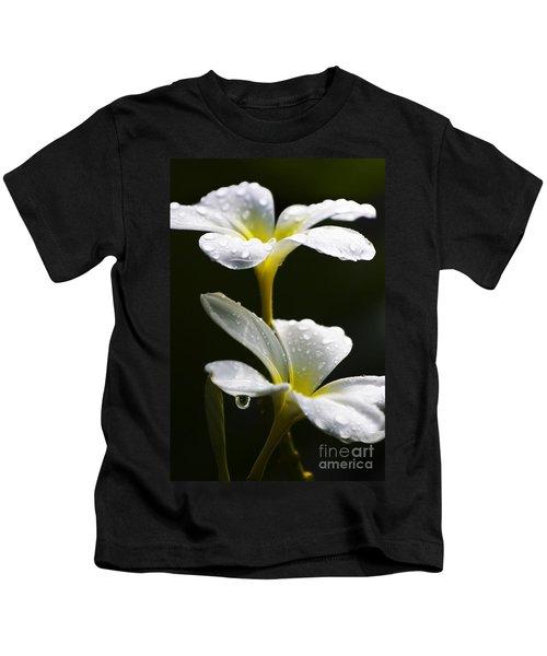Water Droplet On Frangipani Flower Kids T-Shirt