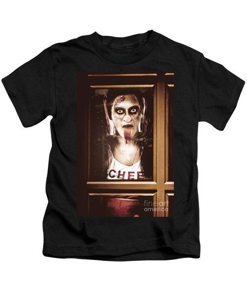 Zombie School Girl Pulling A Funny Face On Glass Kids T-Shirt
