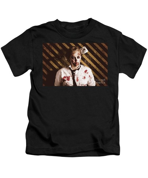 Zombie Standing On Outbreak Warning Background Kids T-Shirt