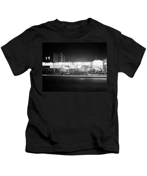 1930s New And Used Car Lot At Night Kids T-Shirt